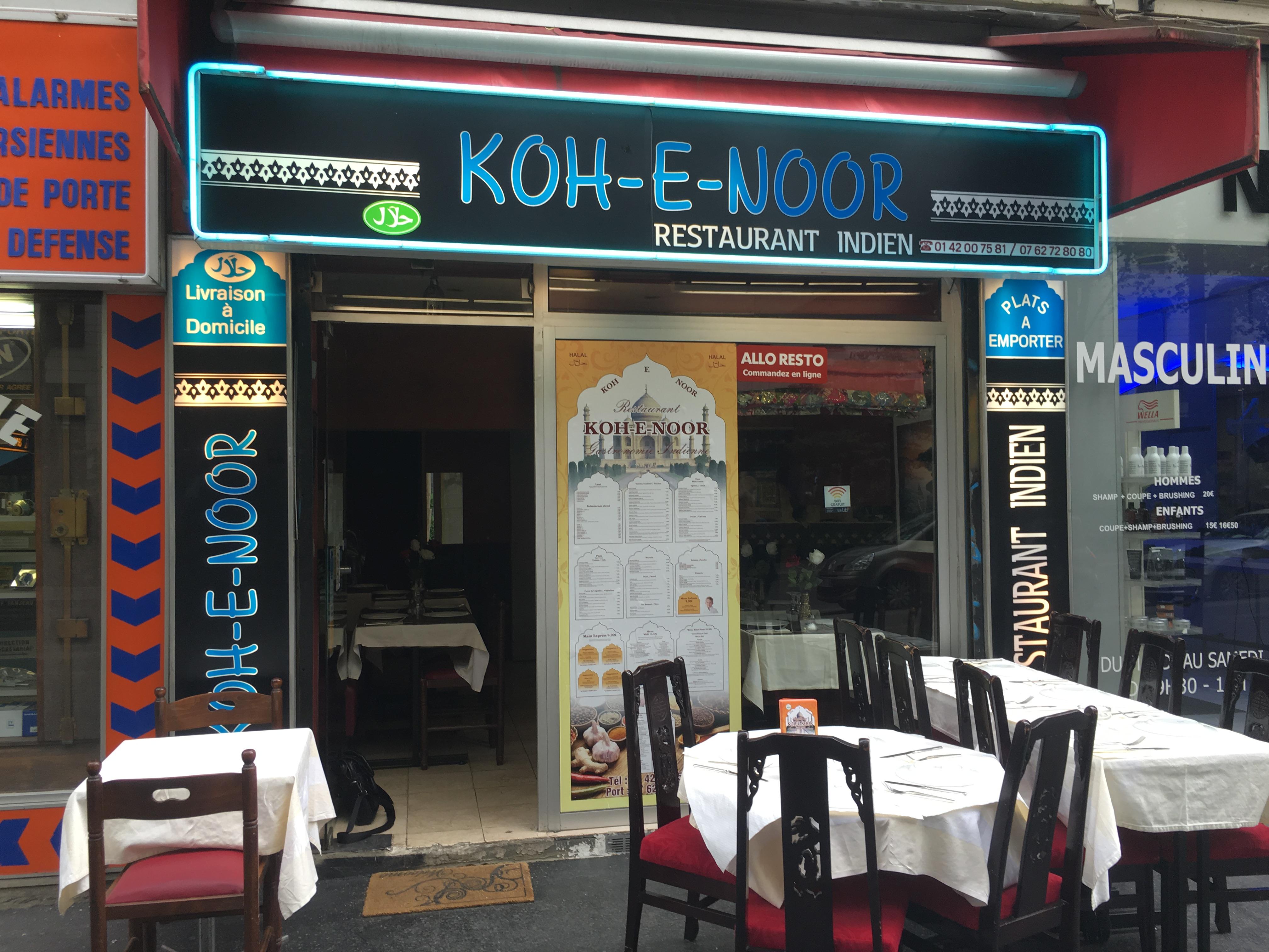 Koh-E-Noor, restaurant indien Paris 19, sur place, à emporter, livraison